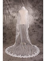 Wedding Veil One-tier Cathedral Veils Cut Edge / Lace Applique Edge Tulle White