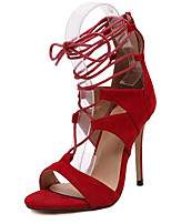 Women's Shoes Fleece Summer Heels Party & Evening Stiletto Heel Lace-up Black / Red / Almond