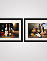 Framed Still Life Wine and Bottles Canvas Print Art Set of 2 for Home Decoration Ready To Hang