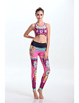 Women's Fashion Stripe Style Pattern High Elasticity Yoga Clothing Sets/Suits