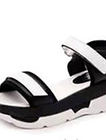 Women's Shoes PU Wedge Heel Peep Toe / Open Toe Sandals Outdoor / Dress / Casual Black / White