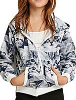 Girl's Blue Jacket & Coat,Cartoon Cotton Winter / Fall