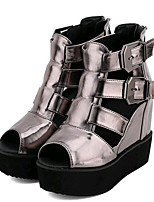 Women's Shoes Leatherette Summer Wedges Outdoor / Casual Wedge Heel Buckle Black / Silver