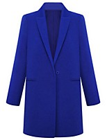 Women's Solid Blue / Pink / Beige / Black Coat,Plus Size Long Sleeve Polyester