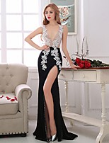 Formal Evening Dress-Multi-color Trumpet/Mermaid V-neck Sweep/Brush Train Chiffon / Satin