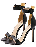 Women's Shoes Leatherette Summer Heels Party & Evening Stiletto Heel Buckle Black / White
