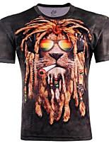 Men's Print Casual T-Shirt,Cotton Short Sleeve-Black