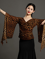 High-quality Tulle with Animal Print Ballroom Dance Tops for Women's Performance