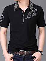 Men's Short Sleeve T-Shirt,Cotton / Polyester Casual