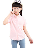 Girl's Casual Cut Out Cotton Solid Shirt