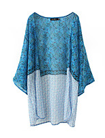 Women's Casual/Daily Simple Jackets,Print Round Neck ¾ Sleeve Blue Polyester