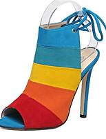 Calçados Femininos-Sandálias-Saltos-Salto Agulha-Marrom / Colorido-Flanelado-Festas & Noite