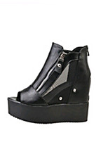Women's Shoes PU Platform Heels Wedding / Outdoor / Office & Career / Party & Evening / Dress / Casual Black / White