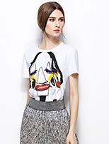 Zishangbaili® Women's Round Neck Short Sleeve Shirt & Blouse White-TX1508