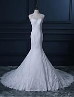 Trumpet/Mermaid Wedding Dress-White Court Train Scoop Lace
