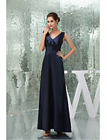 Formal Evening Dress A-line V-neck Floor-length Stretch Satin