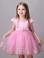 Girl's Going out Jacquard DressCotton / Polyester Summer / Spring / Fall Pink