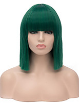 Top Quality Midlle Long Straight Green Color Cosplay Hair Synthetic Wig