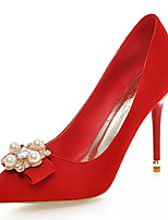 Calçados Femininos-Saltos-Saltos-Salto Agulha-Preto / Rosa / Vermelho / Cinza-Courino-Casamento / Escritório & Trabalho / Festas & Noite