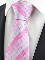 New Pink Plaid Checked Gitter Men's Tie Necktie Wedding Party Holiday Gift KT0051