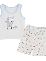 Girl's Blue Clothing Set,Print Cotton Summer
