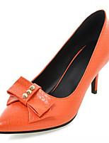 Zapatos de mujer-Tacón Stiletto-Tacones-Tacones-Exterior / Oficina y Trabajo / Vestido-Semicuero-Negro / Naranja