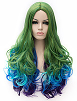 Cosplay Wig Europe and America Three Tone Color Green Blue Purple Hradient Cosplay Curly Hair