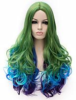 peluca cosplay de Europa y América del tricolor tono azul, púrpura, verde cosplay hradient pelo rizado