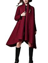 Women's Solid Red / Black / Brown / Purple Coat,Simple Long Sleeve Nylon