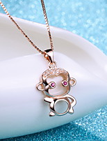 Mix Style 18K Rose Gold Plated Monkey Classic Necklace Real Silver Pendant Water Wave Chain Women Animal Jewelry