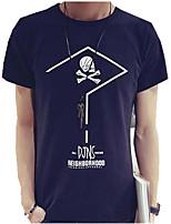 Tee-Shirt Pour des hommes A Motifs Décontracté Manches Courtes Coton Noir / Bleu / Blanc