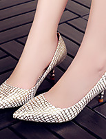 Calçados Femininos-Saltos-Saltos / Bico Fino-Salto Sabrina-Azul / Prateado / Dourado-Courino-Escritório & Trabalho / Social