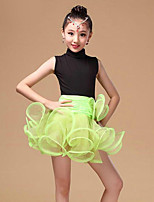 Latin Dance Dresses Children's Performance Organza / Milk Fiber Draped 1 Piece Fuchsia / Green / Red Latin Dance Dress