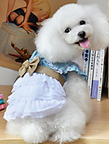 Dog Dress / Clothes/Clothing Blue Summer Floral / Botanical / Bowknot / Jeans Cowboy-Lovoyager