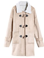 Women's Solid Beige Coat,Street chic Long Sleeve Polyester