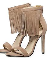 Chaussures Femme-Soirée & Evénement-Noir / Amande-Talon Aiguille-Talons-Sandales-Laine synthétique