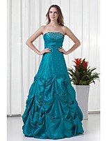 Formal Evening Dress-Ink Blue A-line Strapless Floor-length Taffeta