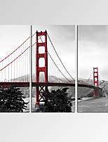 Fantaisie / Loisir / Photographie / Musique / Patriotique / Moderne / Romantique Toile Trois Panneaux Prêt à accrocher,Format Horizontal
