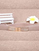 Women Leather Diamond-Studded Wide Belt,Vintage / Cute / Party / Casual Alloy