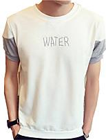 Tee-Shirt Pour des hommes Lettre Décontracté Manches Courtes Coton Rose / Gris