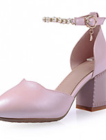 Zapatos de mujer-Tacón Robusto-Tacones-Tacones-Exterior / Oficina y Trabajo / Vestido-Semicuero-Rosa / Blanco