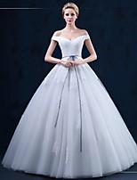 A-라인 웨딩 드레스 바닥 길이 오프 더 숄더 튤