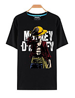 Inspirado por One Piece Monkey D. Luffy animado Disfraces Cosplay Cosplay de la camiseta Estampado Negro Manga Corta Top