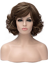 Golden Brown Color Mixture Curly Hair Synthetic Wigs