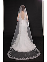 Wedding Veil One-tier Chapel Veils Cut Edge / Lace Applique Edge