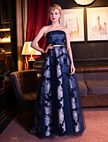 Formal Evening Dress-Dark Navy A-line Strapless Floor-length Organza / Satin / Tulle / Stretch Satin