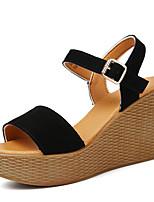 샌달-캐쥬얼-여성의 신발-플랫폼 / 컴포트-가죽-웻지 굽-블랙 / 레드