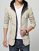 Men's Long Sleeve Casual Jacket,Polyester Solid Blue / Brown / Beige