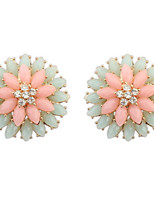 Fashion 2016 New Jewelry For Women Korean Style Pink And Light Green Double Rose Flower Rhinestone Stud Earrings