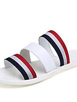 Zapatos de Hombre-Sandalias-Exterior / Casual-Cuero / Tejido-Negro / Marrón / Blanco